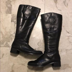 Etienne Aigner Black Leather Wide Calf Boots